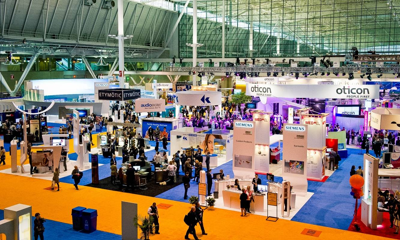 A tradeshow floor display at the Boston Convention Center.