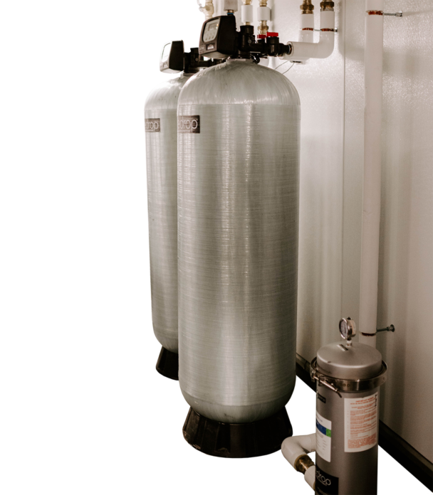 Brewery filtration equipment in large canisters.