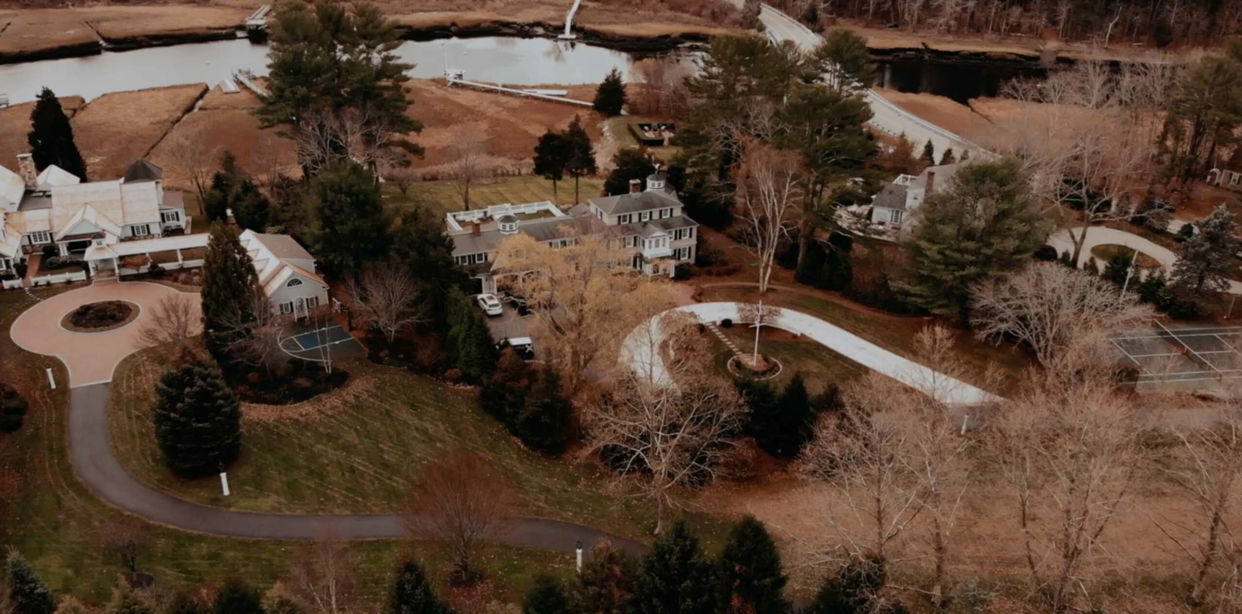 An aerial view of a residential home.