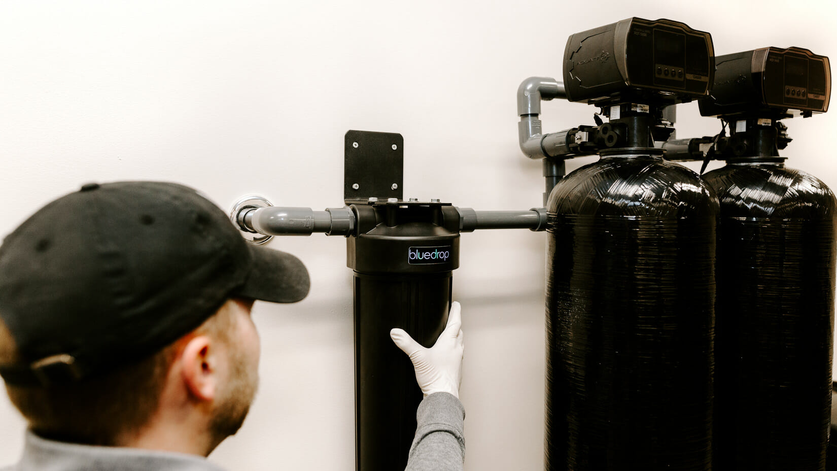 A residential water softening system.