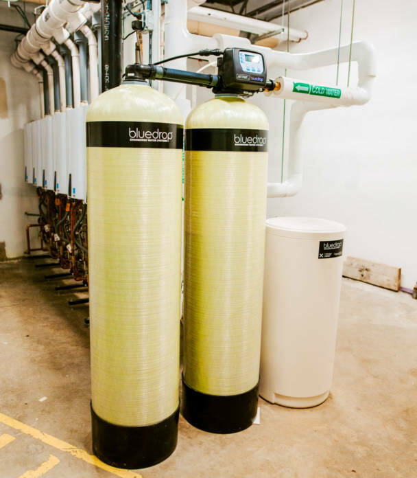 A commercial water softener system.