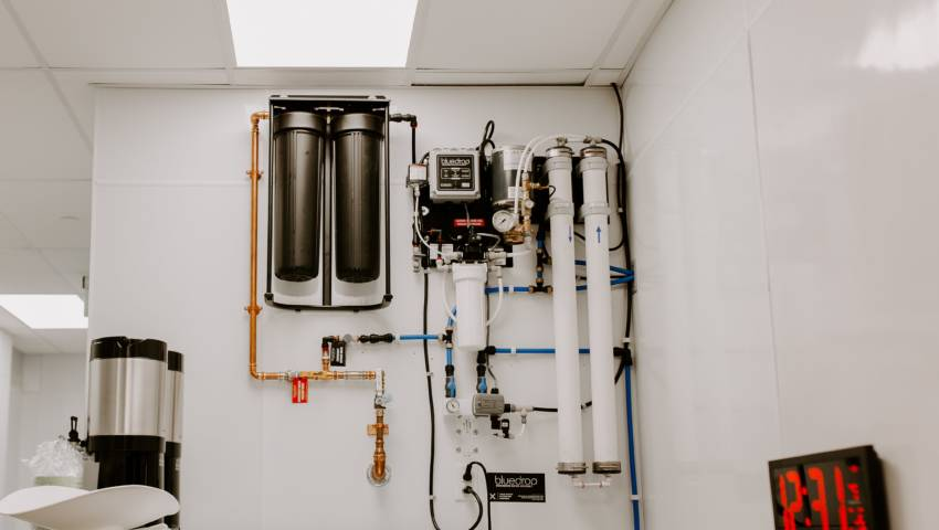A filtration system installed on a wall.