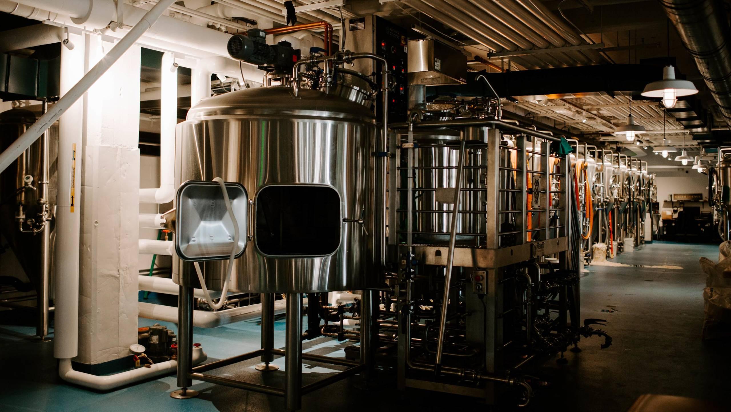 Brewery equipment showing bluedrop water capabilities.