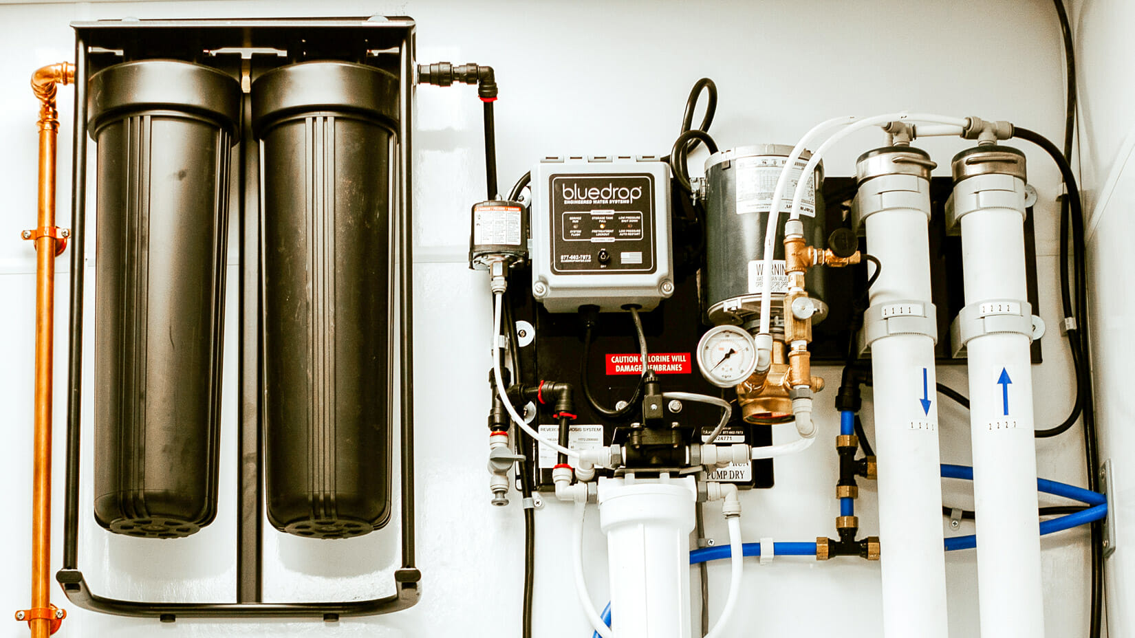 A bluedrop water centralized filtration system.