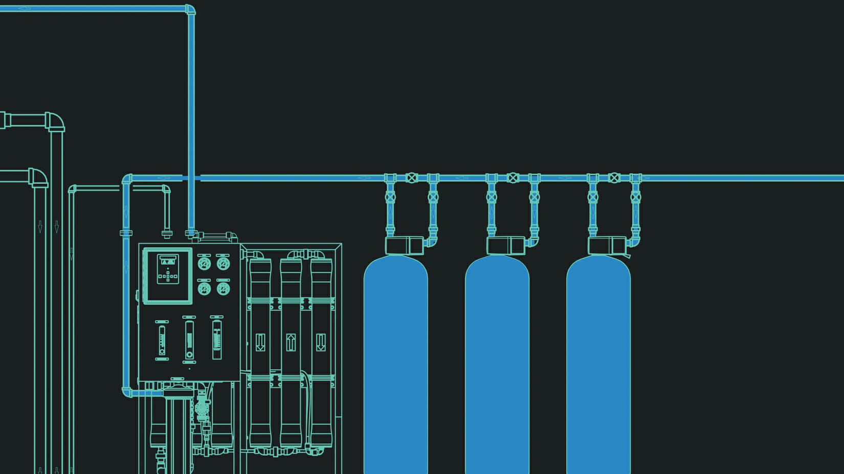 Diagram of a reverse osmosis system.