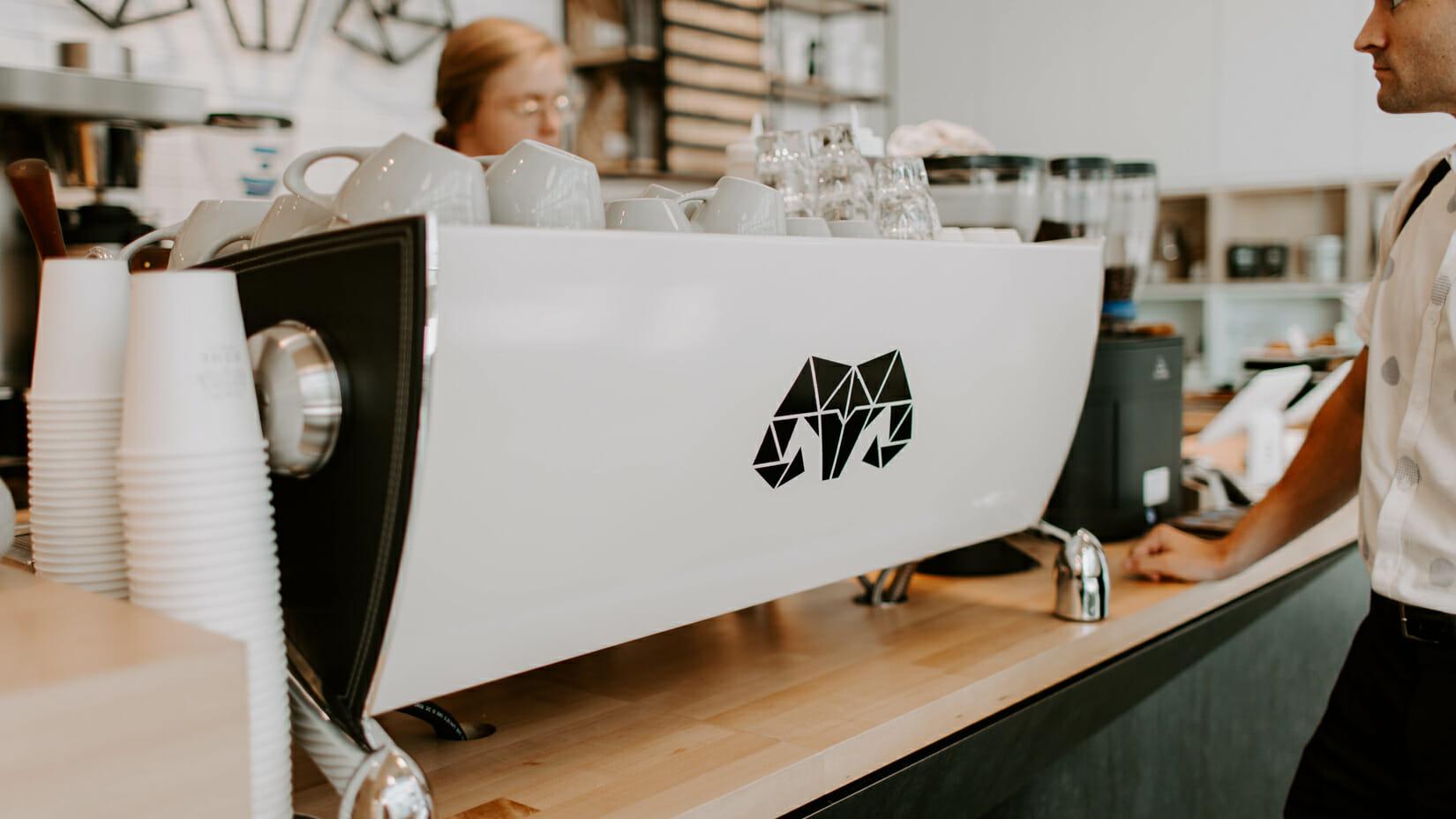 A coffee shop counter.
