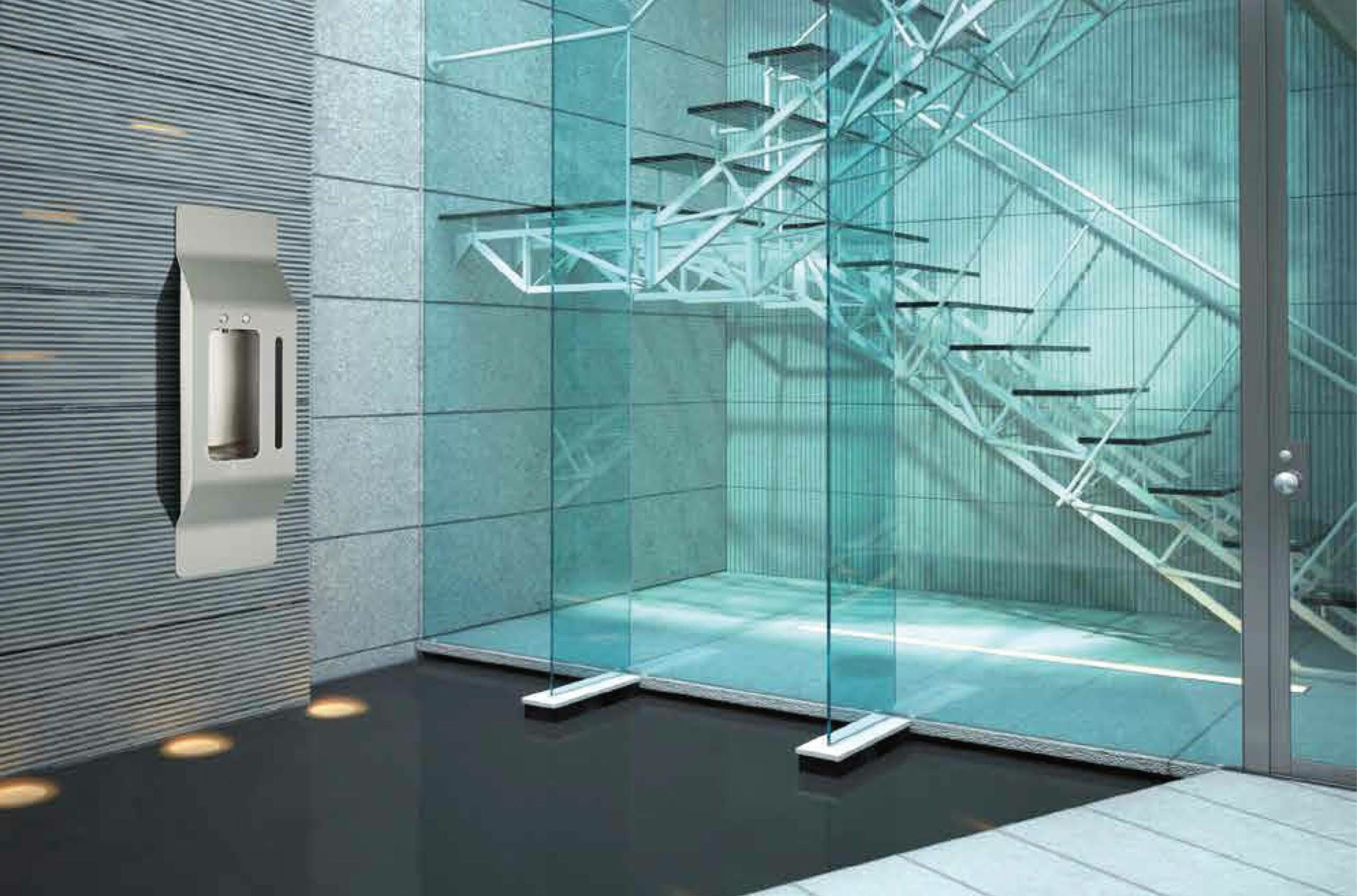 Rendering of a water system installed in a building.